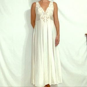 Long Vintage White Lace & Satin Night Gown Small